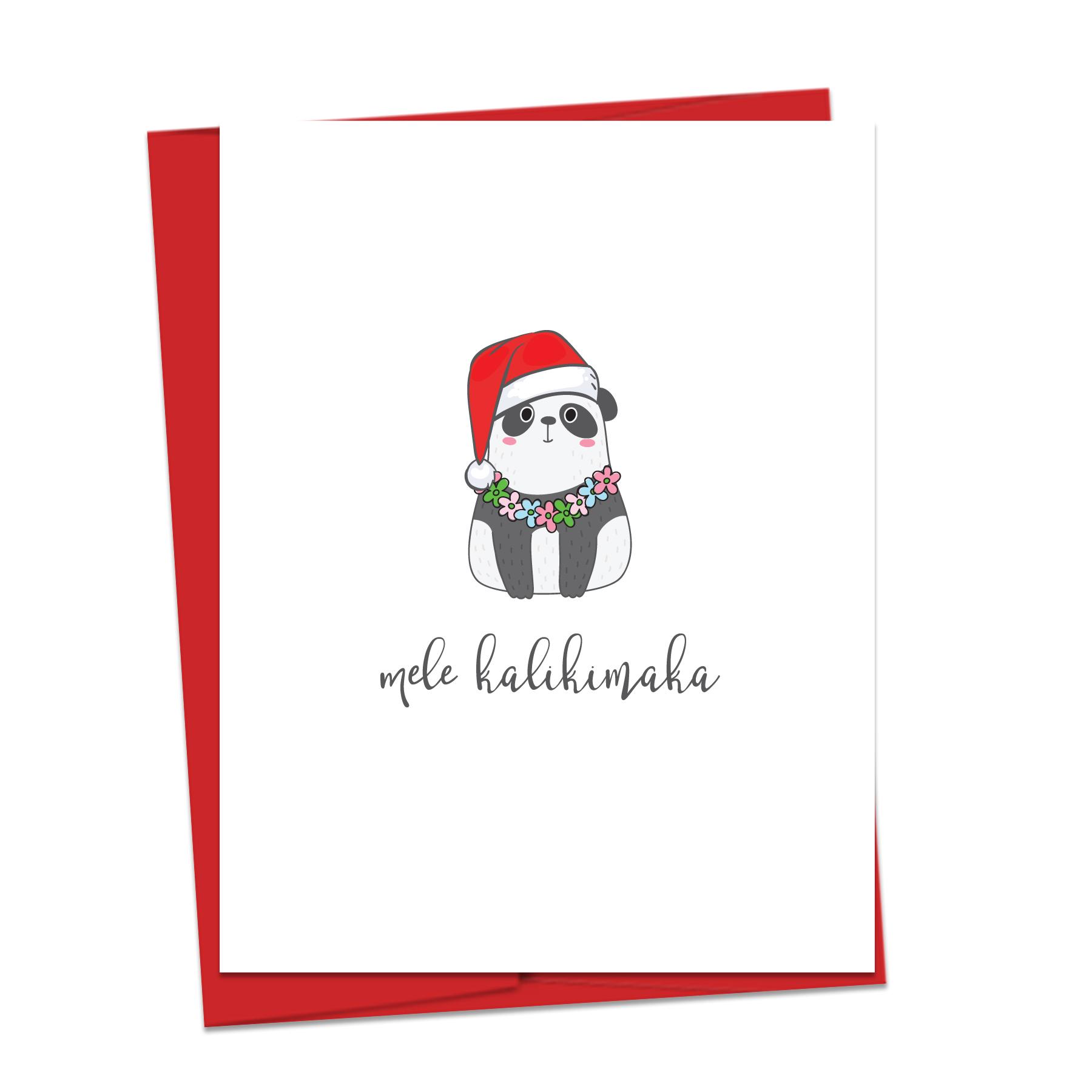 Mele Kalikimaka Christmas Cards.Mele Kalikimaka Panda Note Card