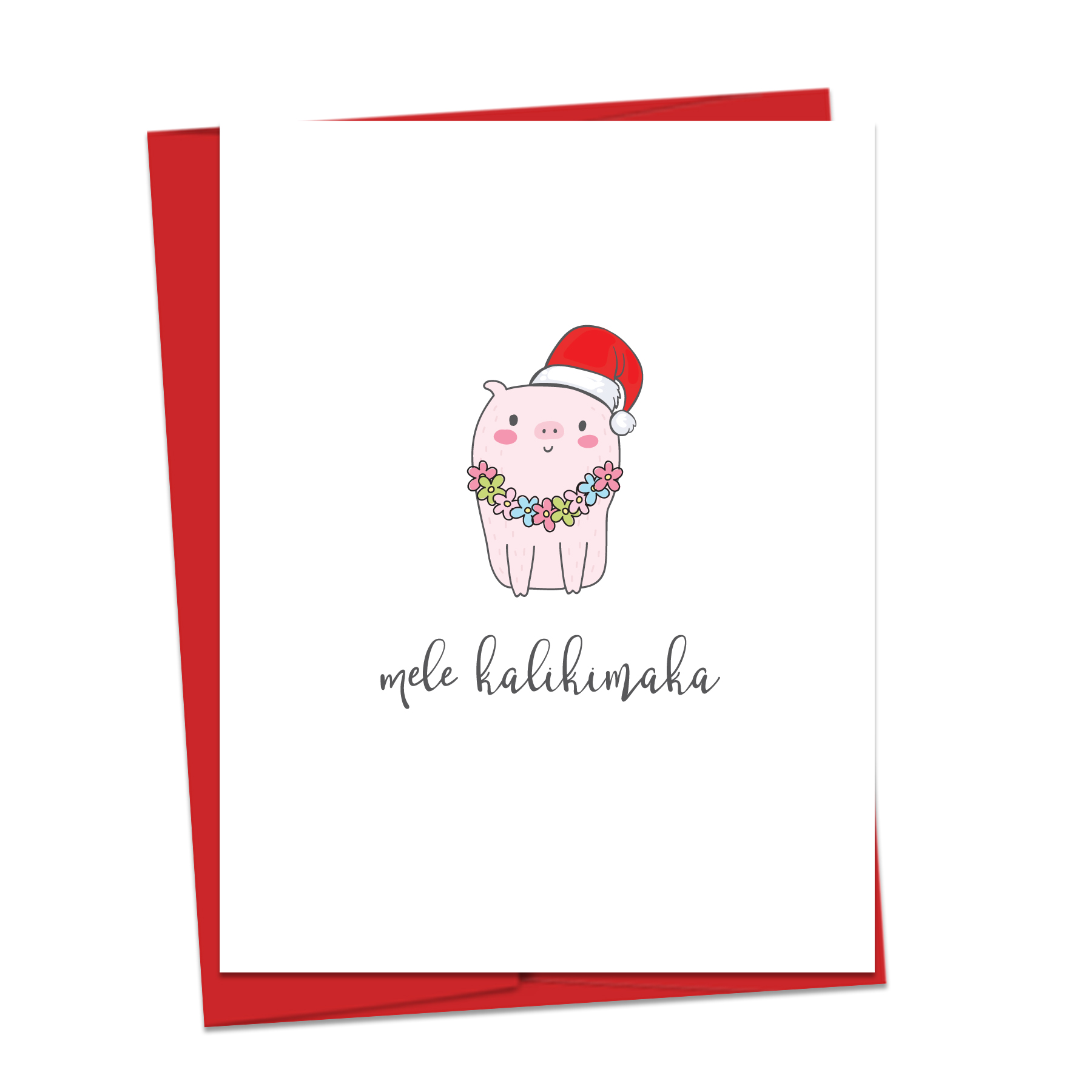 Mele Kalikimaka Pig Note Card - Emi Ink